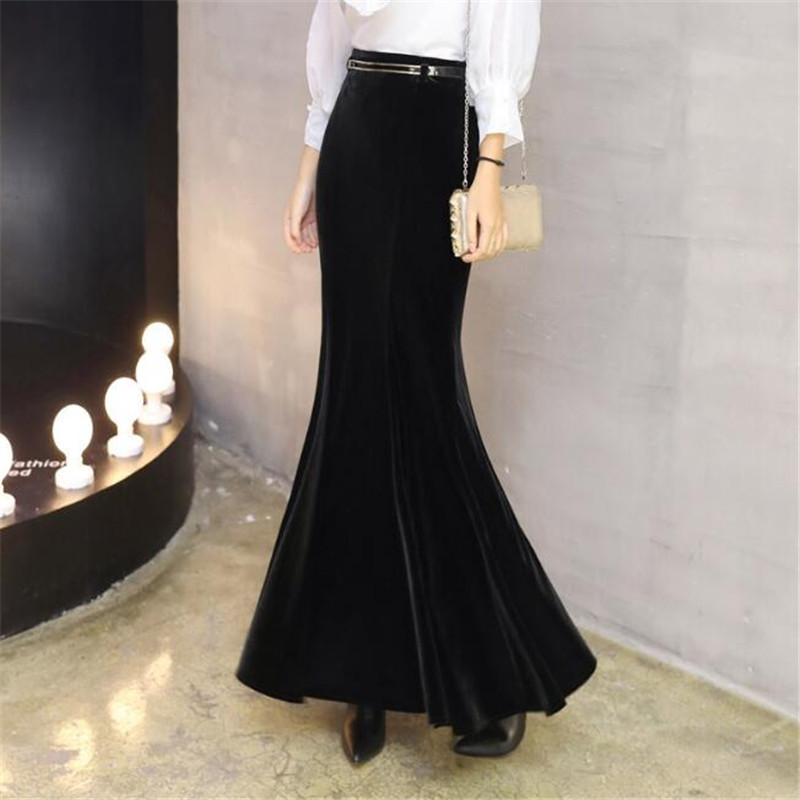Velvet Mermaid Skirts For Women Plus Size 5XL Winter Long Skirt With Belt Female Autumn Elegant Black Velvet Maxi Skirt Ds50163