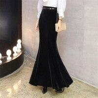 Velvet Mermaid Skirts For Women Plus Size 5XL Winter Long Skirt With Belt Female Autumn Elegant Black Velvet Maxi Skirt Ds50163