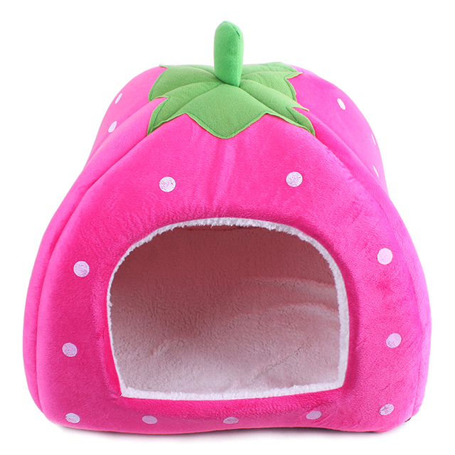 4 Colors Soft Cat House Foldable Strawberry Dog Bed Animal Cave Nest Puppy Dog Kennel Cute Pet Cat Dog House High Quality