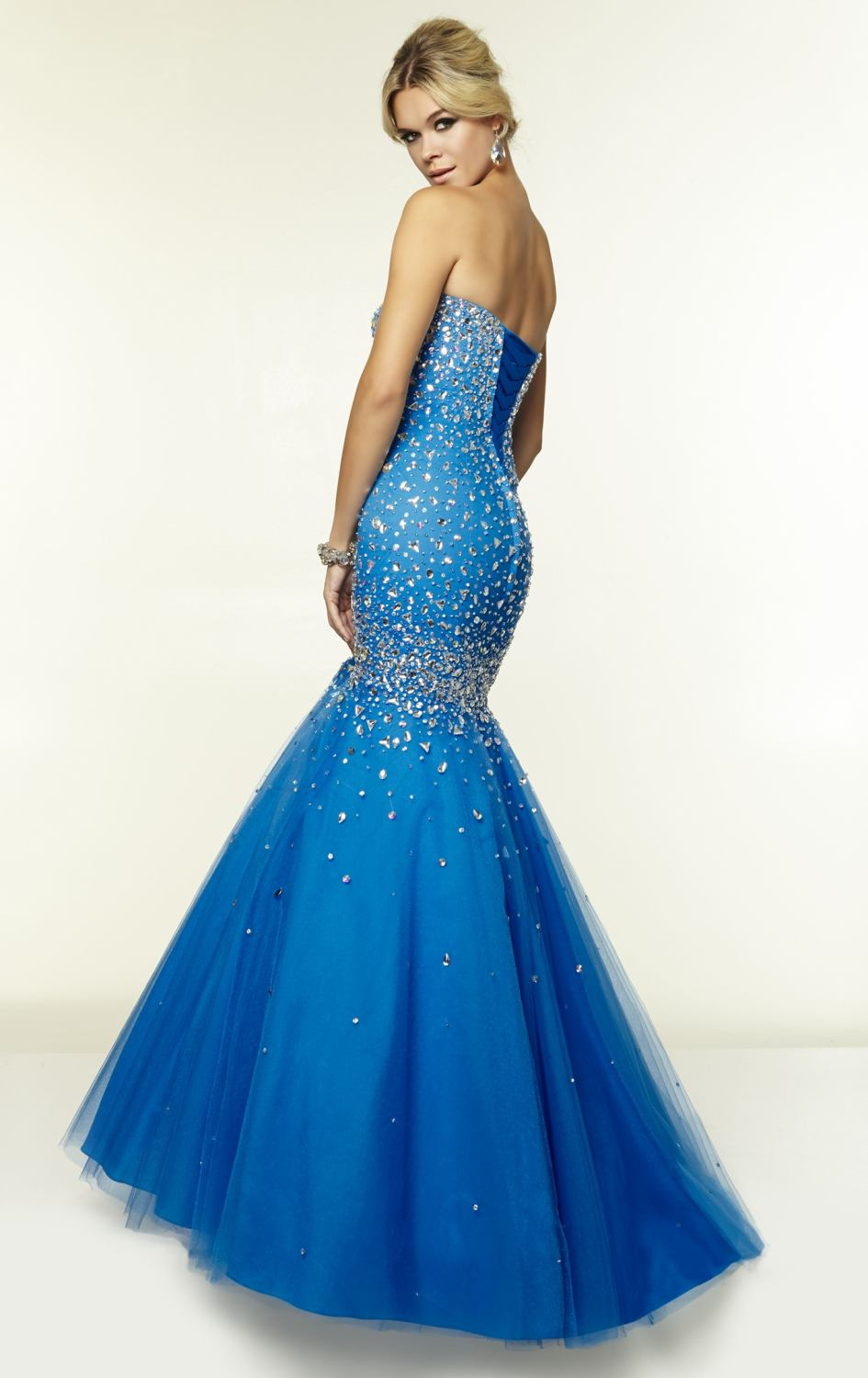 Wow !! So Luxurious Crystal Blue Evening Dresses Long Shining ...