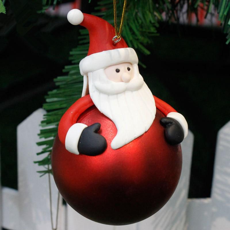 Christmas Tree 3D Balls Decor Santa Claus Elk Party Hanging Ornament Bauble Drop Pendant Kid Favor Xmas Home Gift Decorations,7 1