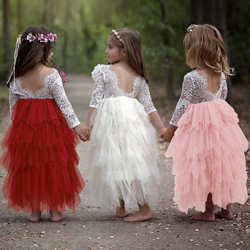fb053de16479d Lace Flower Girl Party Frock Dresses Girls Little Princess Tutu Fluffy  Wedding Gown Backless Children Costume