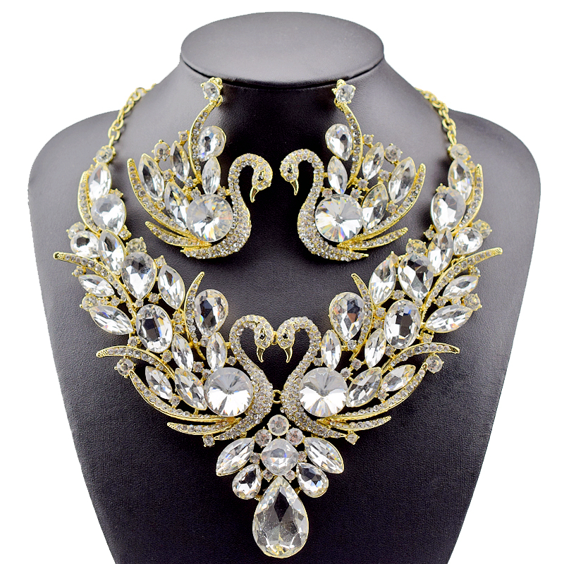 2018 New Fashion Gold Color full Crystal Rhinestone Swan Necklace and Earrings Set for Women Party Bridal Wedding Jewelry Sets a suit of vintage rhinestone leaf necklace and earrings for women