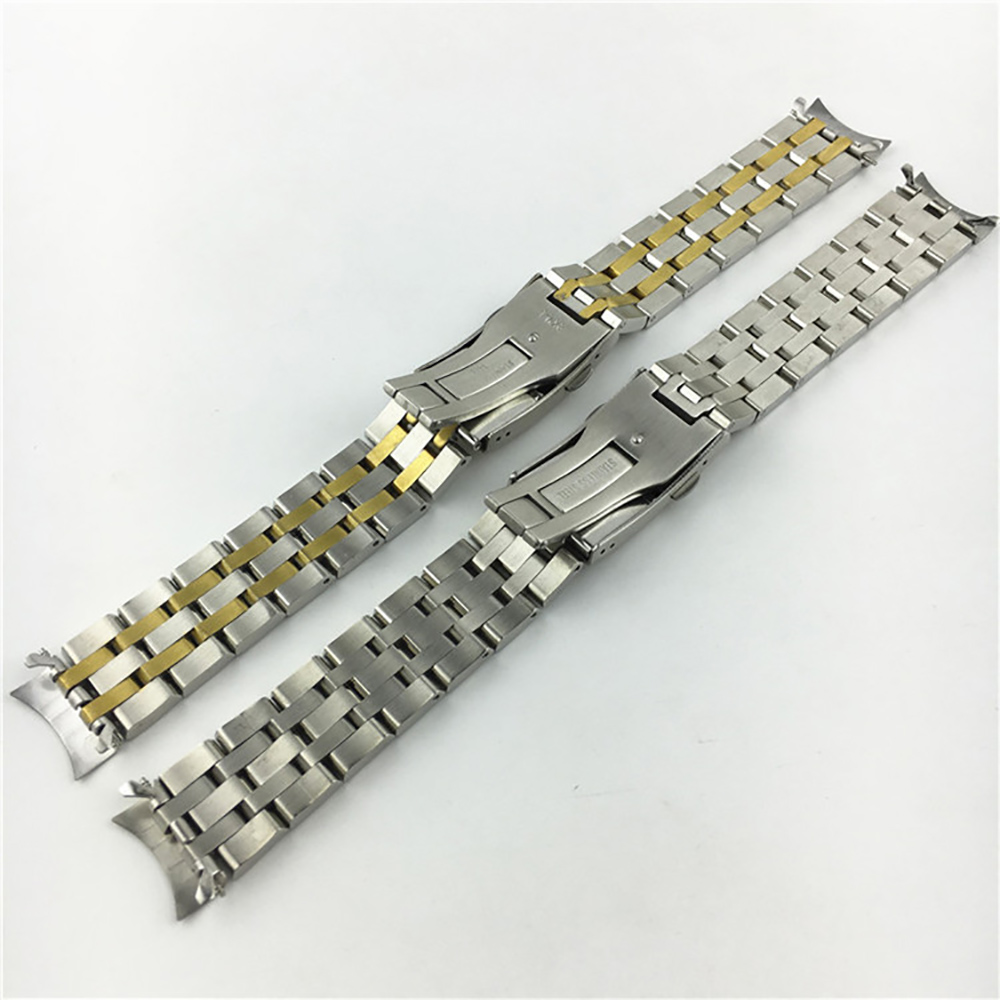 5 Beads Sainless Steel <font><b>Watch</b></font> Strap For Tissor 1853 T17/T41/T461/<font><b>PRC200</b></font>/T055/T067 19mm 20mm Fold Buckle Gold Silver Belt image