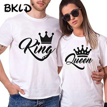 King Queen Couples T-Shirt Crown Printing Couple Clothes Summer T-shirt