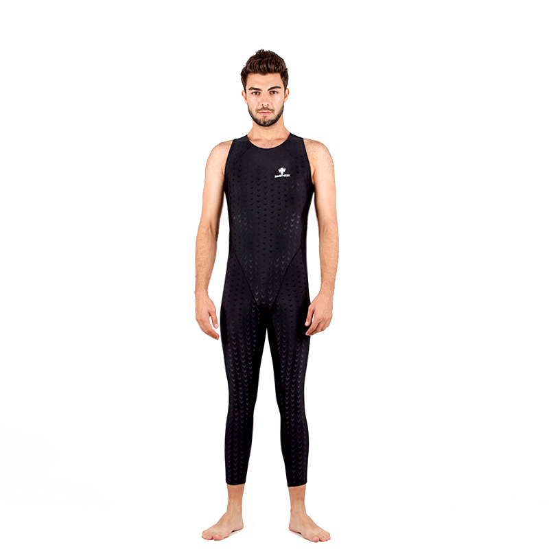 все цены на Male One Piece Swimsuit Black Sharkskin Bathing Suit Men Professional Sports Competition Athletic Outdoor Diving Beach Swimwear