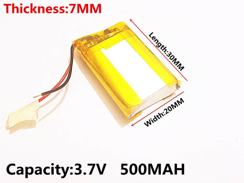 (free shipping)Polymer lithium battery 3.7 V, 702030 500MAH can be customized wholesale CE FCC ROHS MSDS quality certification free shipping 1pieces lot 3 7v 603030 600mah lithium polymer battery quality goods of ce fcc rohs certification authority