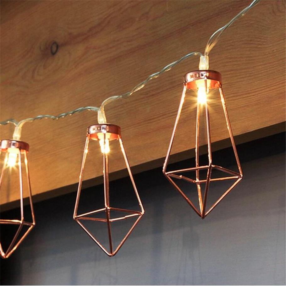 Led String Retro Iron Metal Diamond Led Fairy String Lights Battery Xmas Holiday Wedding Party Home Decoration 10 Leds Lantern String Lamps