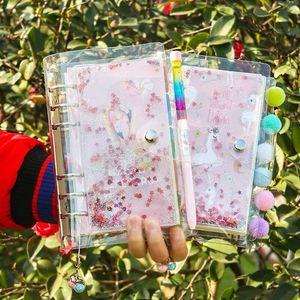 Image 4 - 2021 koreański Bling Bling A6 luźny liść spirala codzienny planer tygodniowy notatnik z darmowy długopis Do zrobienia notatnik Agenda szkoła papiernicze