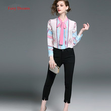Fairy Dreams Two Piece Set Women's Suits Long Sleeve Bow Shirt Tops And Black Pants 2017 Summer Style Ladies Fashion Clothing