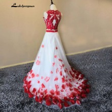 lakshmigown Two Pieces Prom Dresses with Flowers A-line