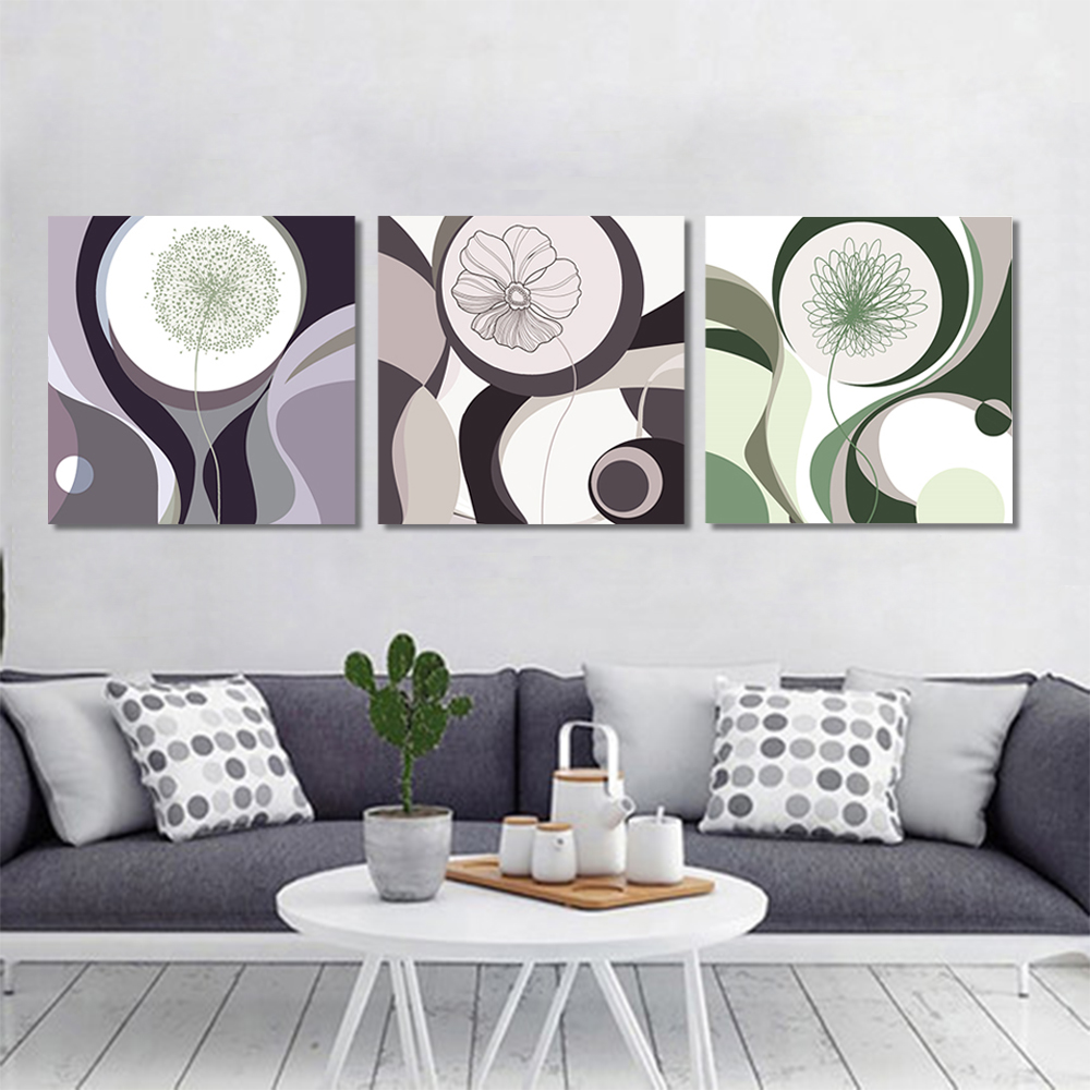 Unframed Multiple Pieces Canvas Painting Abstract Flower Dandelion Tree Prints Wall Pictures For Living Room Wall Art Decoration