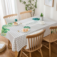 Green Plant Ins Waterproof Tablecloth Cotton Small Fresh Table Cloth Tablecloth Rectangle Coffee Home Desktop Dinner Party Decor