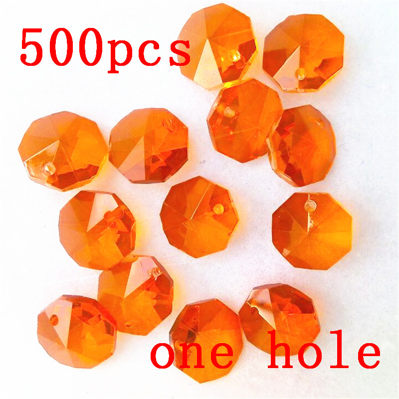 500pcs/Lot 14mm Orange Red Glass Octagon Crystal Beads In One Hole Wedding Chandelier Lamp Beads Christmas Tree Beads