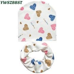 Детская шапочка, шапки, хлопковый шарф, Детские шапочки с принтом в виде сердца, весенне-Осенняя детская шапка, шарф, комплект для маленьких ...