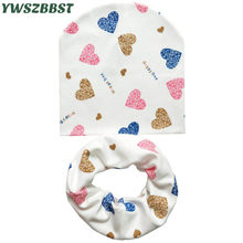 Baby Hat Infant Caps Cotton Scarf Baby Beanies Love Heart Print Spring Autumn Children Hat Scarf Set Baby Girls Hats Photo Props(China)