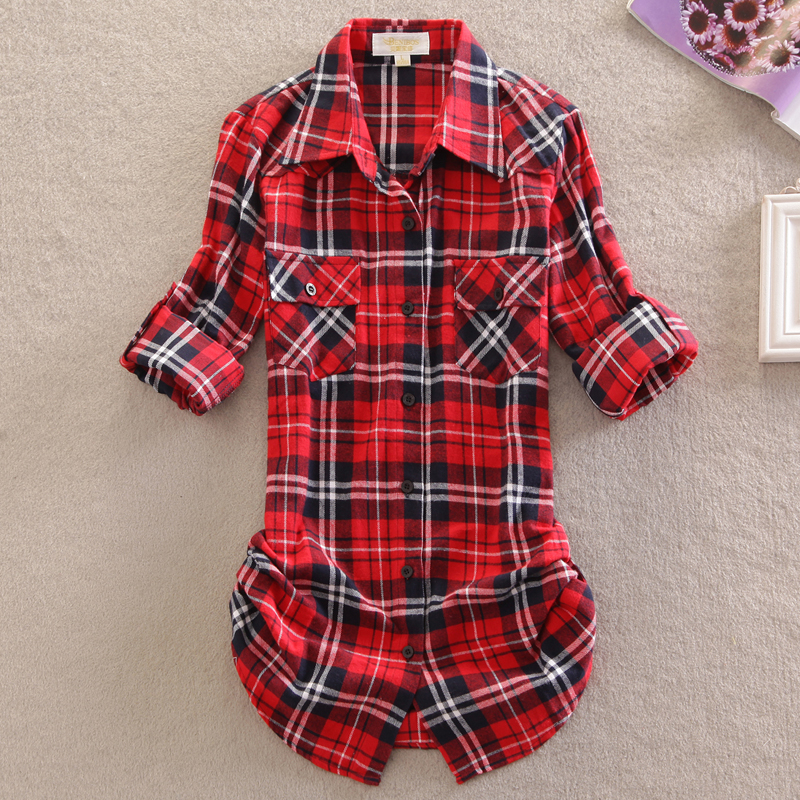cotton Checkered plaid   blouses     shirt   Cage female long sleeve casual slim women plus size   shirt   office lady tops Special design