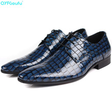 QYFCIOUFU England Fashion Patent Leather Men Dress Pointed Toe Crocodile Pattern Business Male Formal Genuine Leather Shoes Flat