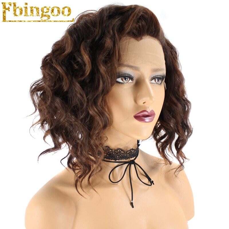 Ebingoo haute température Fiber Peruca femmes court vague profonde brun foncé mélangé Bob perruque avant en dentelle synthétique avec pointe veuve