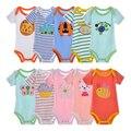 5 pçs/lote babador 100% algodão para o bebê das meninas do menino roupas ropa de bebe macacão clothing 0-24 m criança romper de manga curta