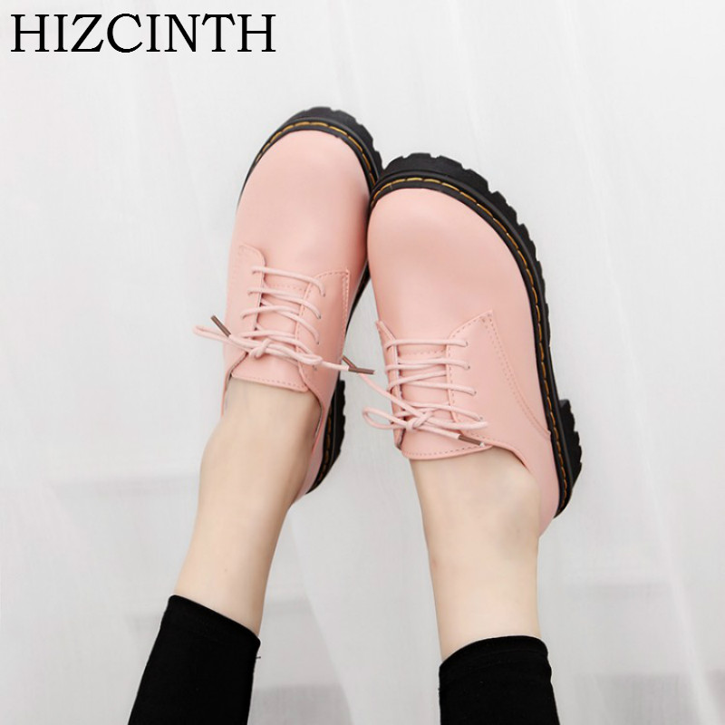 HIZCINTH 2018 Spring/autumn Brand Women Shoes Leather Lace-up Casual Shallow Pink Color Single Shoes Woman Zapatos Mujer Flats lotus jolly ballet flats faux leather women casual shoes tie vintage british oxford low pointed toe spring autumn zapatos mujer