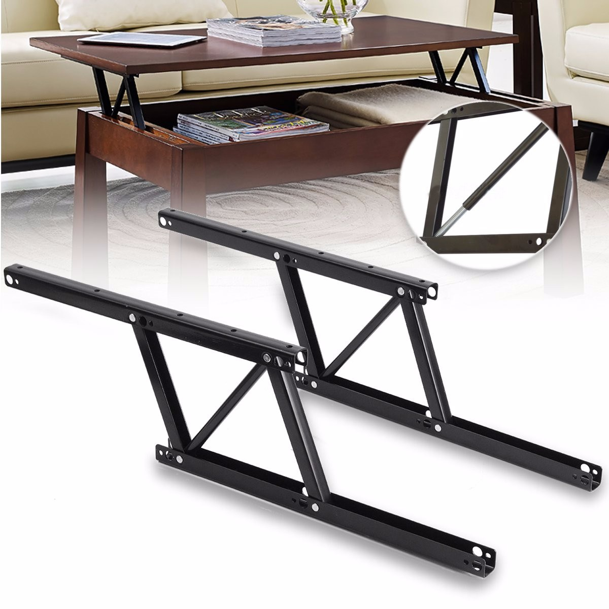 1 Pair Lift Up Coffee Table Mechanism Table Furniture Hardware Fiftting Usage for Table Cabinet Desk 38*16.5cm Spring Hinges-in Cabinet Hinges from Home Improvement