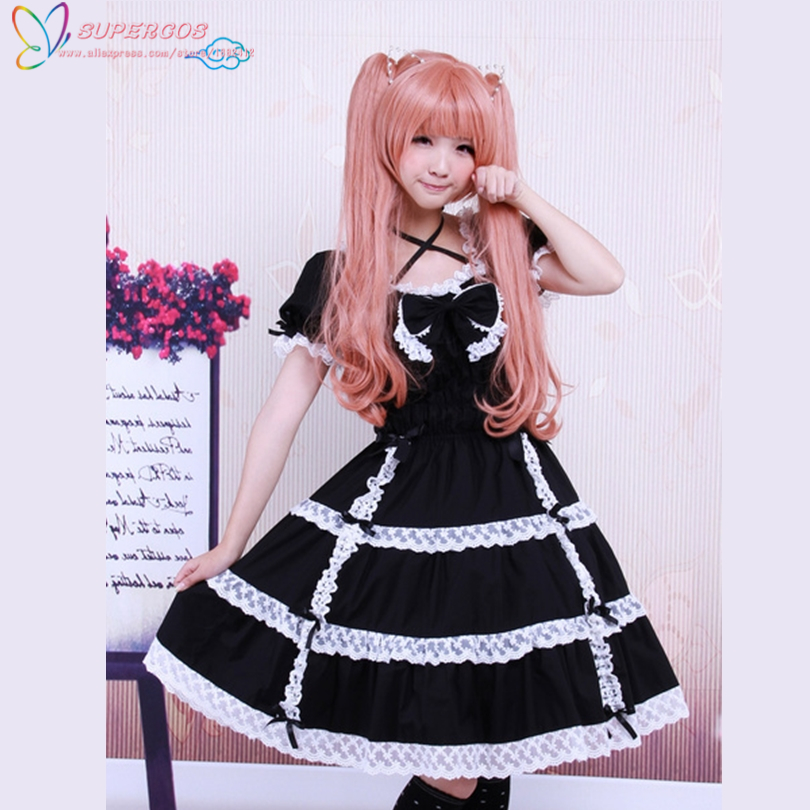 Free shipping! New Arrivals! High Quality! Cotton Black Lace Bow Short Sleeves Gothic Lolita Dress
