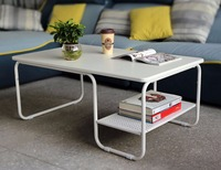 Modern Rectangular Side Coffee Tea Table Set With Lower Shelf With Storage Shelf Decorate Your Home