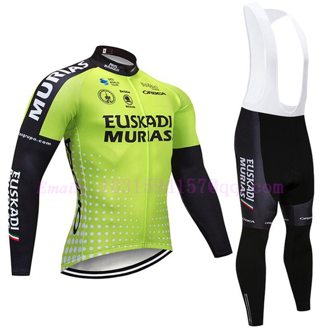 euskadi murias uci team custom clothing sets fleece winter green maillot  downhill suits bicicleta cycling jersey ciclismo pants 76e9dabec