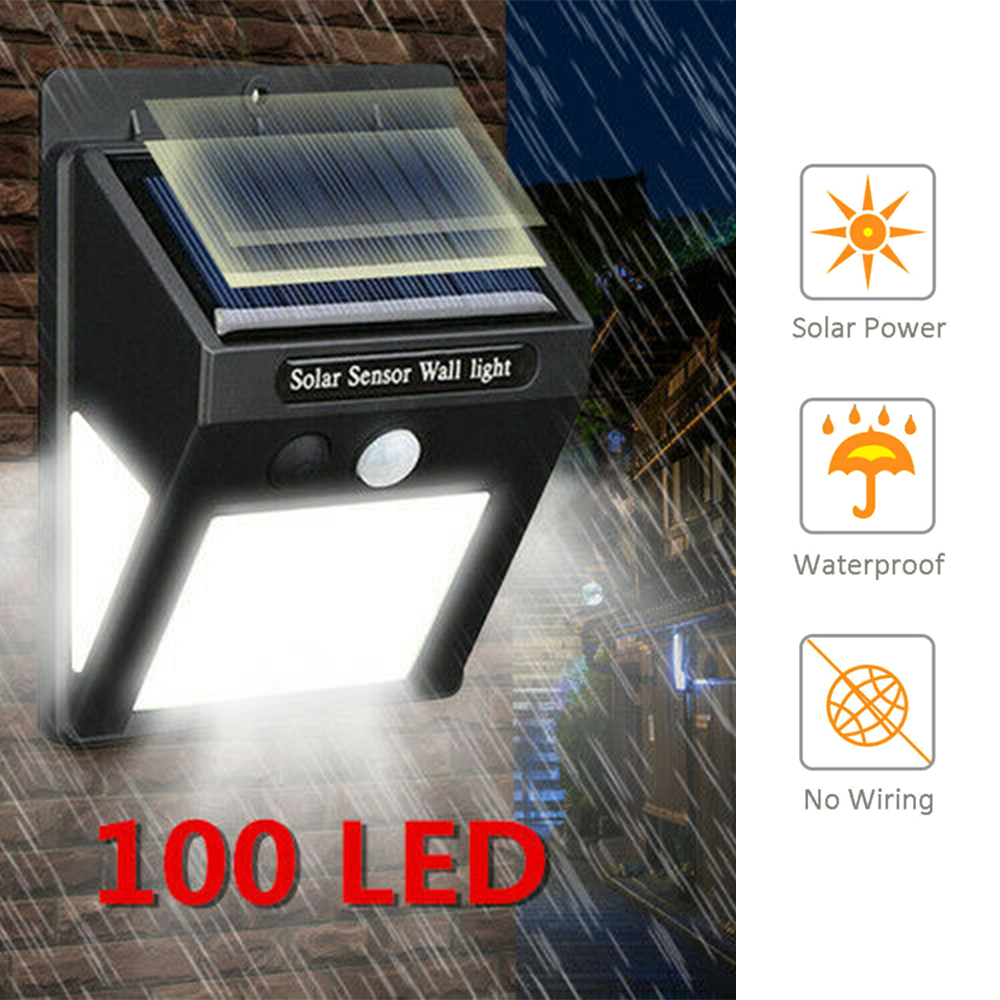 LED Solar Light Motion Sensor Wall Lamp Waterproof Outdoor 100 Garden 3 Modes for Patio Lighting