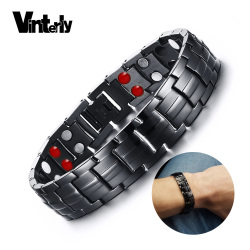 Vinterly Black Bracelet Men Hand Chain Energy Health Germanium Magnetic Bracelet Men Stainless Steel Bracelets For Women Men