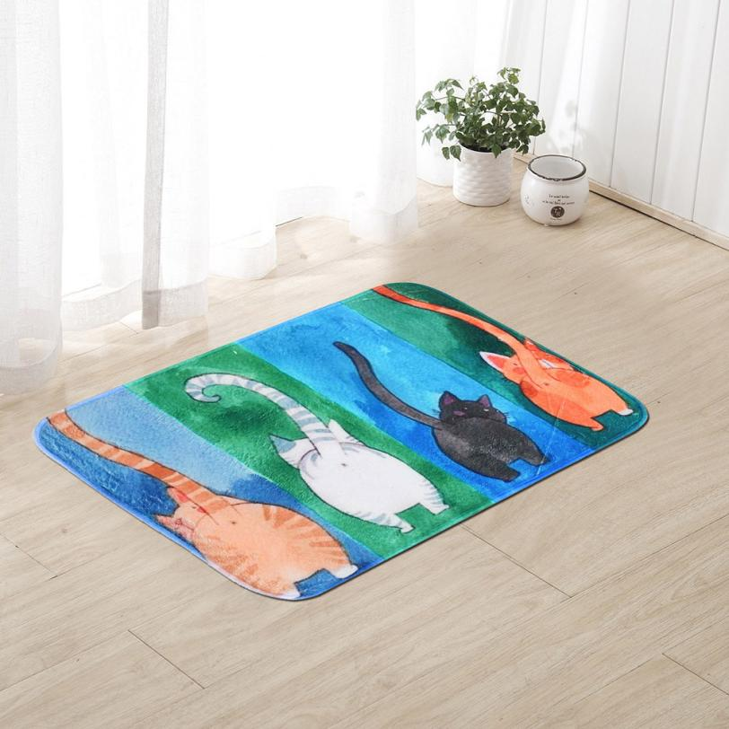 Pet Cat Printed Bathroom Kitchen Rugs Doormats Cat Carpet For Living Room Non-slip Mats t1227