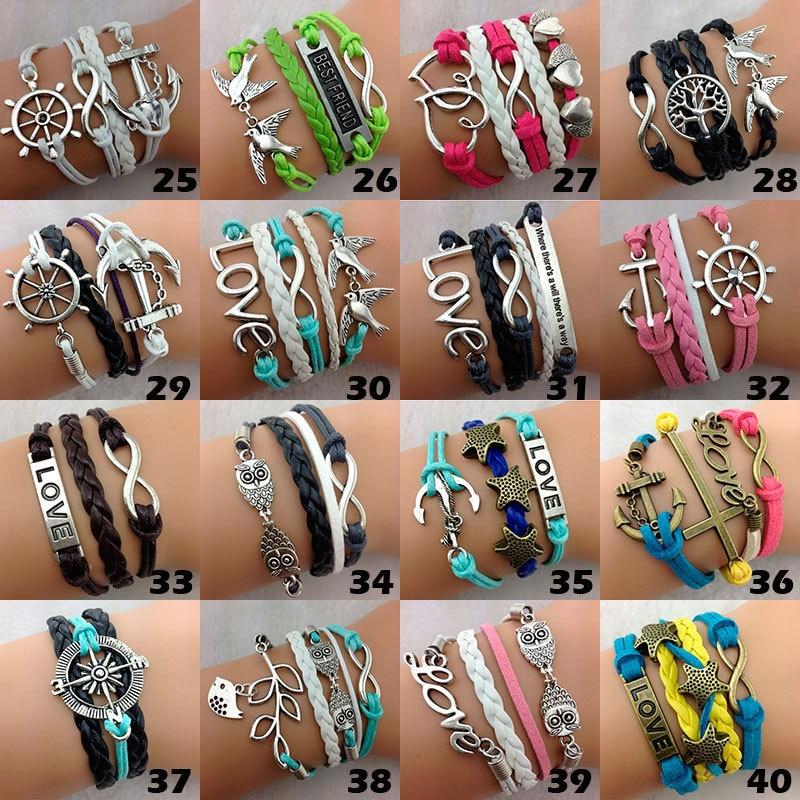Wholesale Bulk Lots 100pcs Multilayer Leather Bracelets Mix Styles Men Women Vintage Tribal Hand woven Cuff