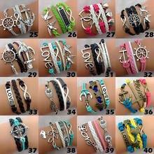 Многослойные кожаные браслеты смешанные стили для мужчин и женщин