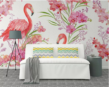 beibehang Customized high-end fashion decorative painting wallpaper flamingo flowers Nordic hand-painted background papier peint