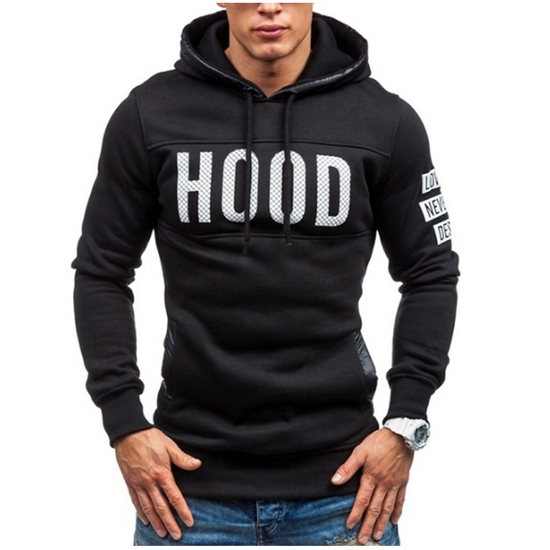 Moleton Masculino 2017 Slim Hoodies Men Sweatshirt Long Sleeve Pullover Hooded Sportswear MenS Letters Printed Tracksuit S-XXL