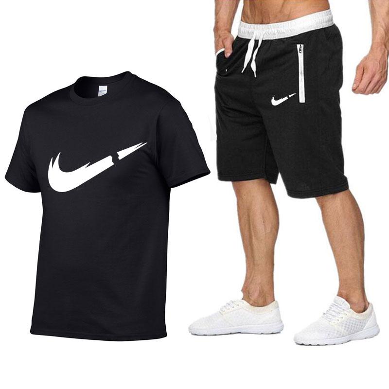 New Men's T-shirts Fashion Logo Print Hipster Fitness t shirt+Jogger Shorts Men Summer Casual Tee shirt Male clothing M-2XL