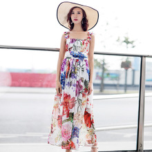 Fashion womens beach dress New 2019 summer runways floral Bohemian Chiffon slip A111