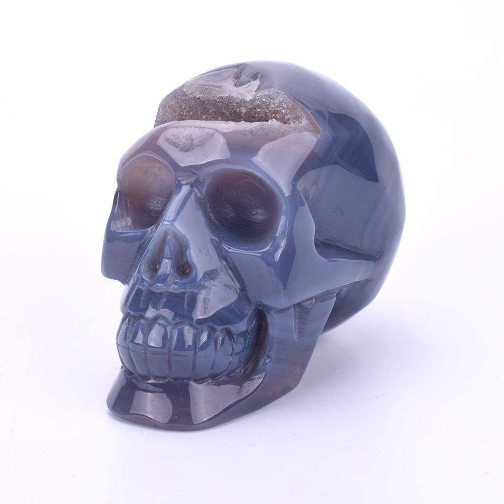 3.7 ''Figurine de crâne de guérison en cristal sculpté Statue de crâne en pierre Agate naturelle Geode Sculpture Unique cristaux de Quartz décor à la maison