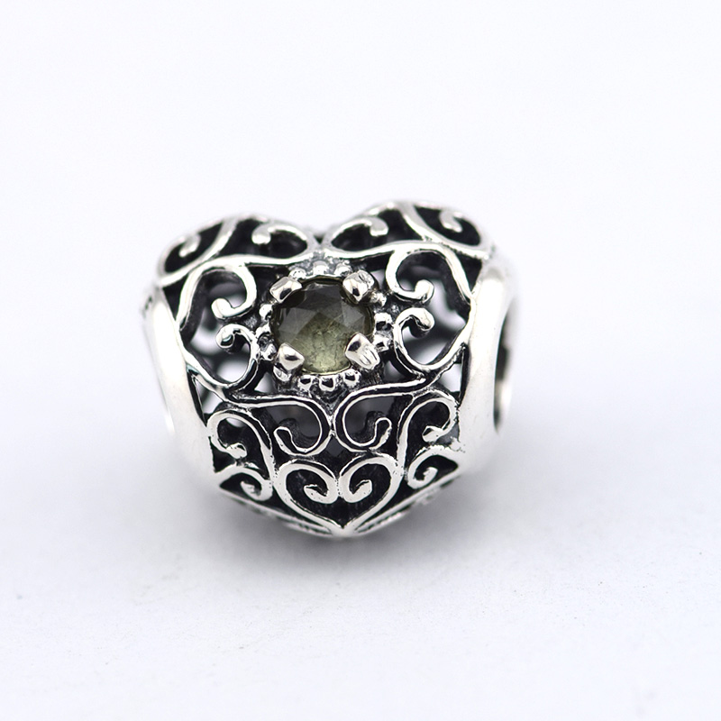 3f50f8294 Fits Pandora Bracelets August Signature Heart, Peridot Silver Beads 100%  Real 925 Sterling Silver Charms DIY Jewelry Wholesale-in Beads from Jewelry  ...