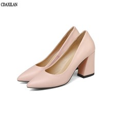 CDAXILAN new arrivals pumps shoes women soft PU leather High heel pink apricot beige office work shoes party pointed toe shoes beige color point toe pumps 6cm high heel women work shoes sexy pumps
