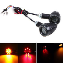 1Pair Red+Amber Motorcycle Turn Signal Bullet LED Signals Indicator Light Universal for most Motorcycles with 8mm bolt