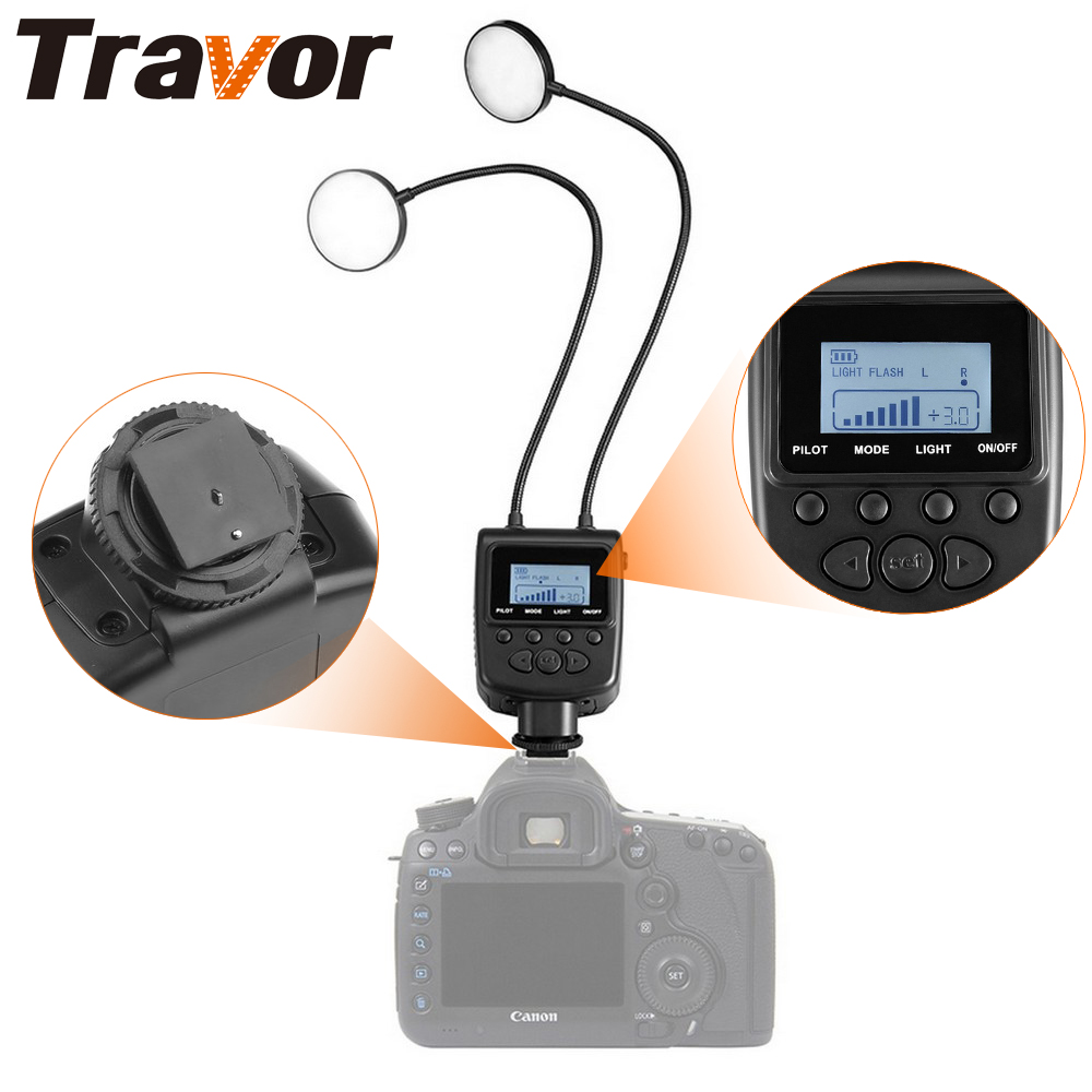 Travor Macro Ring Flash Light Flexible Adjustable Angle Lighting With Large LCD Display For Canon Nikon Close-up Photography