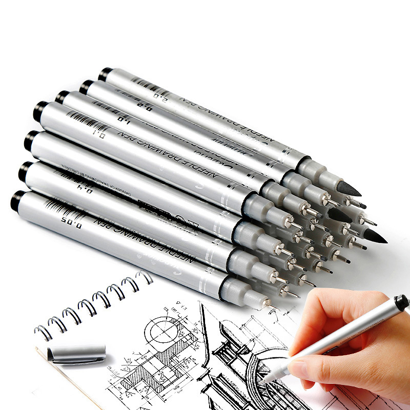 PPYY NEW -Superior 10 Tip Sizes Micron Neelde Drawing Pen Waterproof Pigment Fine Line Sketch Markers Pen For Writing Hand-Pai promotion touchfive 80 color art marker set fatty alcoholic dual headed artist sketch markers pen student standard