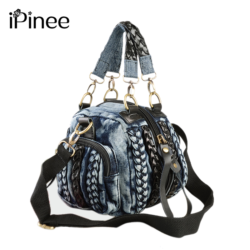 iPinee Kasual Wanita Denim Beg Wanita Beg Bahu Kecil Vintage Blue Jeans Crossbody Bag Ladies Purse