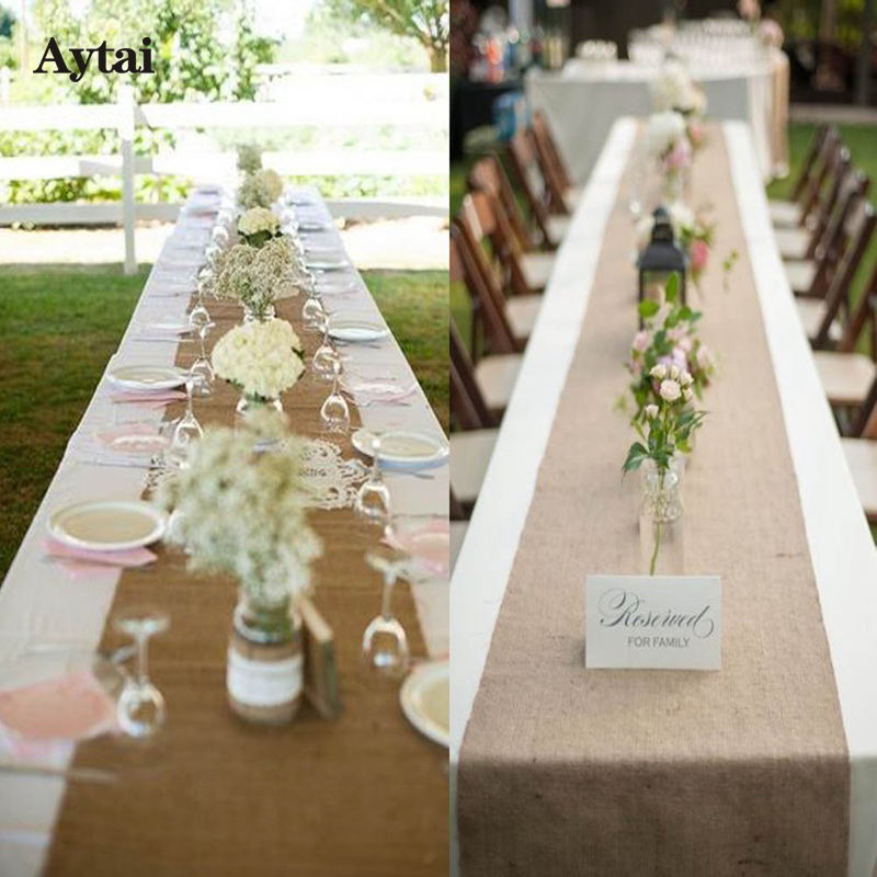 Aytai 1pc 10mx33cm Burlap Table Runners For Wedding