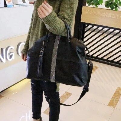 Nouveauté femmes grand casual noir fourre-tout sac à main femme souple en cuir pu grande capacité un sac à bandoulière diamant gland messenger sac - 4