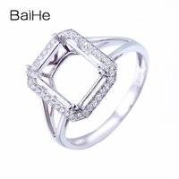 BAIHE Solid 14k White Gold(AU585) Engagement Diamonds Ring Generous Jewelry Emerald 8x10mm Semi mount Fine Jewelry Gift Setting