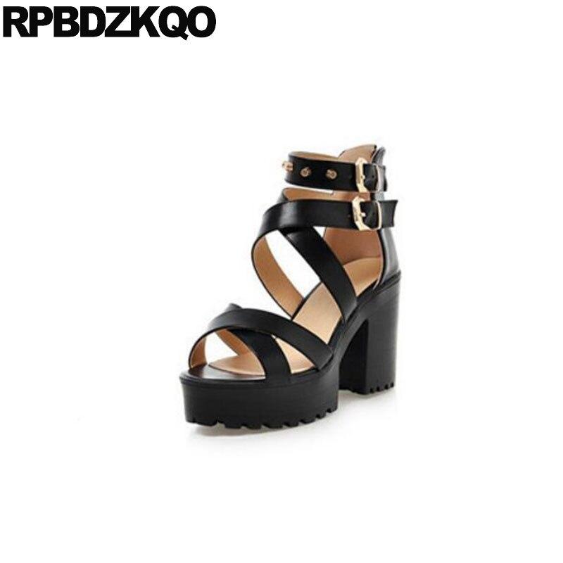 11 43 chaussures 10 42 bride à la cheville nouveauté goujon épais pompes à bretelles gladiateur Rivet grande taille dames noir bout rond ouvert talons hauts