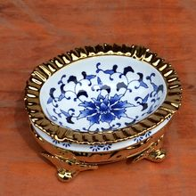 European green flower plating high foot ceramic ashtray tabletop decorative ornament